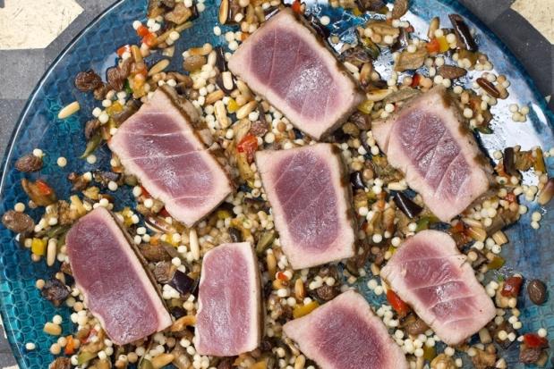 Grilled tuna steak with caponata
